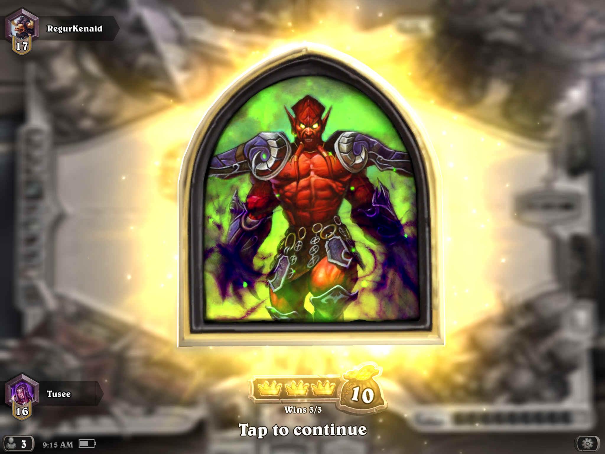 500th win as lord jaraxxus or ragnaros the firelord