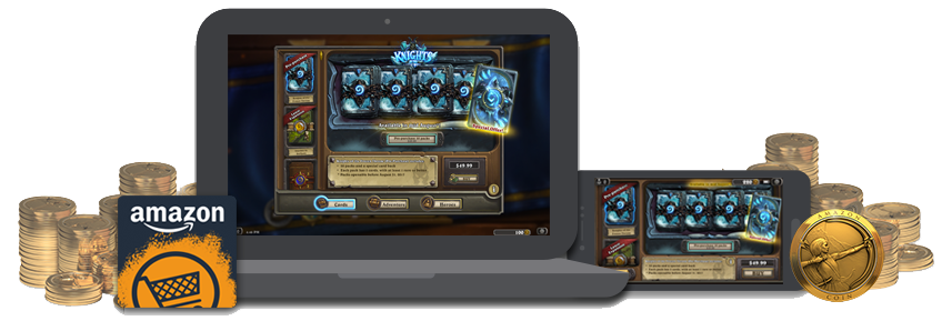how to buy hearthstone packs with amazon coins on pc