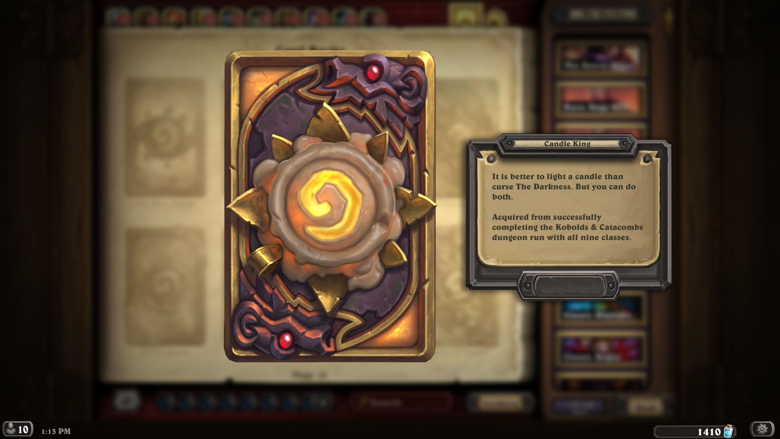 hearthstone how to change your card back