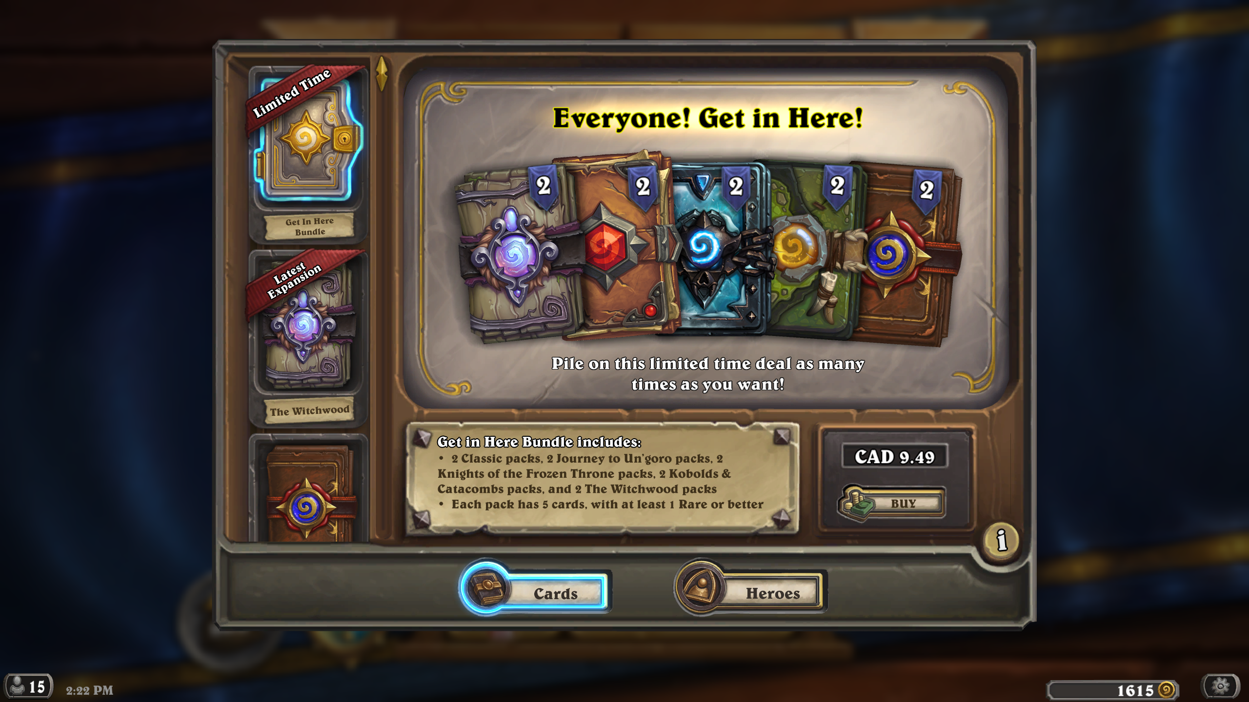 hearthstone patch 11 2 taverns of time event new bundles free