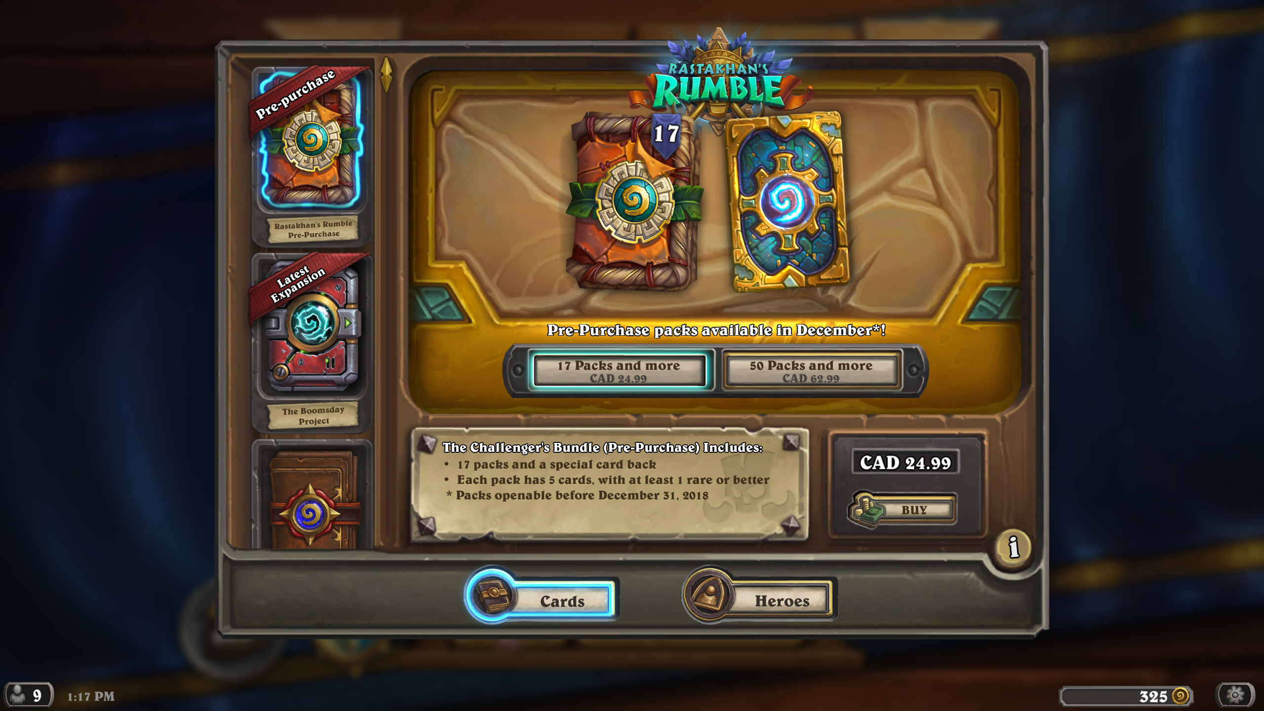 Hearthstone Patch - New Classic Cards, Free Packs, Rastakhan's